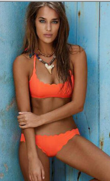 Orange Scallop Ruched Tank Bikini Bathing Suits