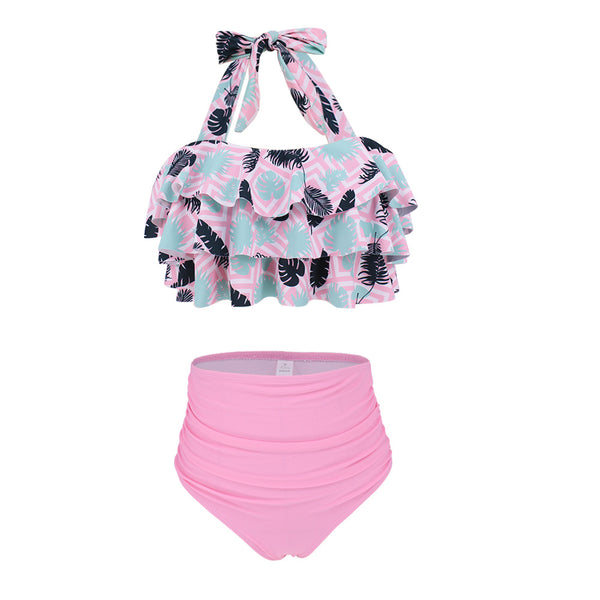 Layered Halter Tank High Waisted Bikini Set