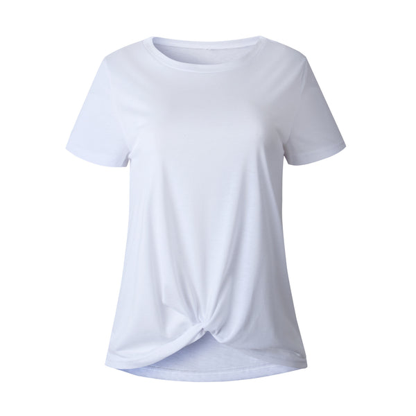 White Front Knot Short Sleeve Tee