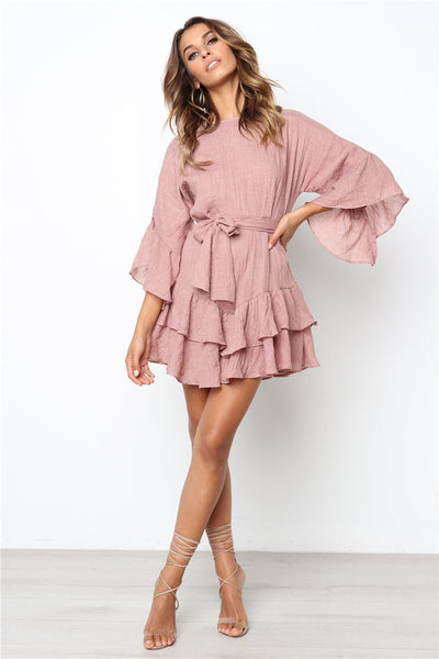 Pink Flare Sleeves Flounced Linen Dress