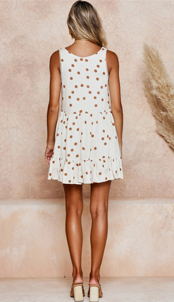 Khaki Polka Dot Print Shift Dress