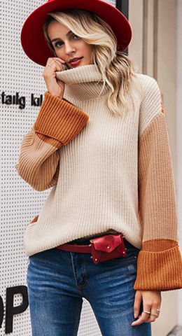 Orange Block Knit Turtleneck Sweater