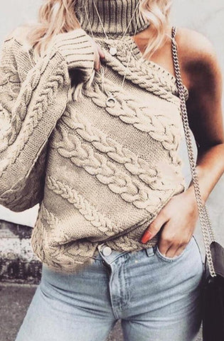 Khaki One Sleeve Cable Knit Sweater