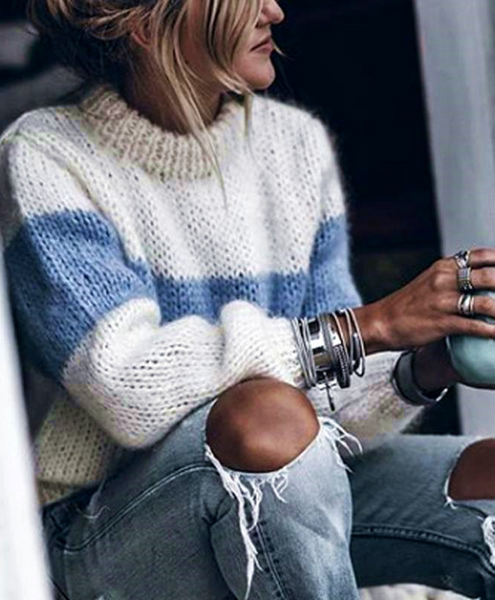 Blue Bold Stripe Mohair Sweater