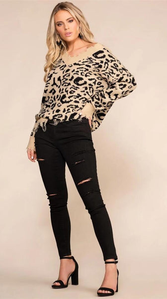 Khaki Leopard Print Loose Raw Edge Sweater