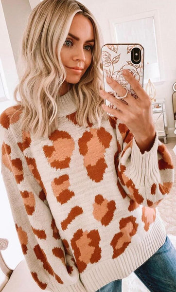 Brown Leopard Print Knit Sweater