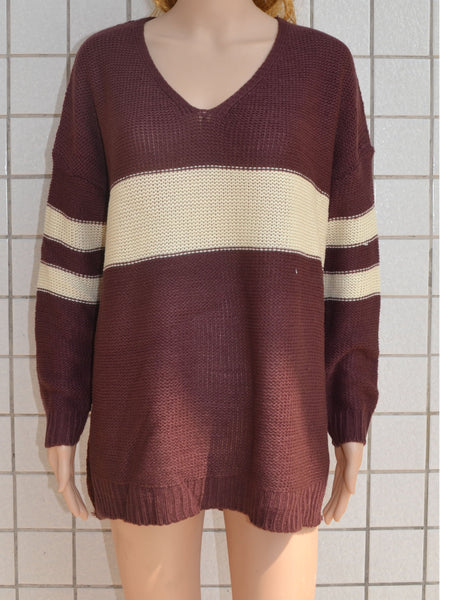 Brown V-neck Contrast Detail Long Sleeve Knit Sweater