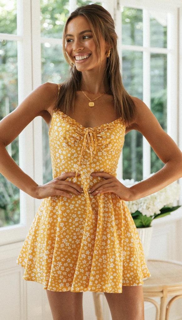 Yellow Tone Floral Mini Dress