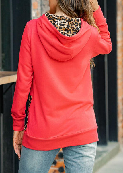 Hoodie Women's Leopard Print Color Block Hooded Neck