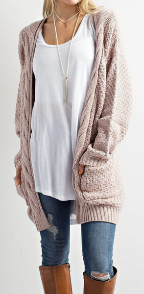 Cozy Cable Knit Longline Cardigan Sweater