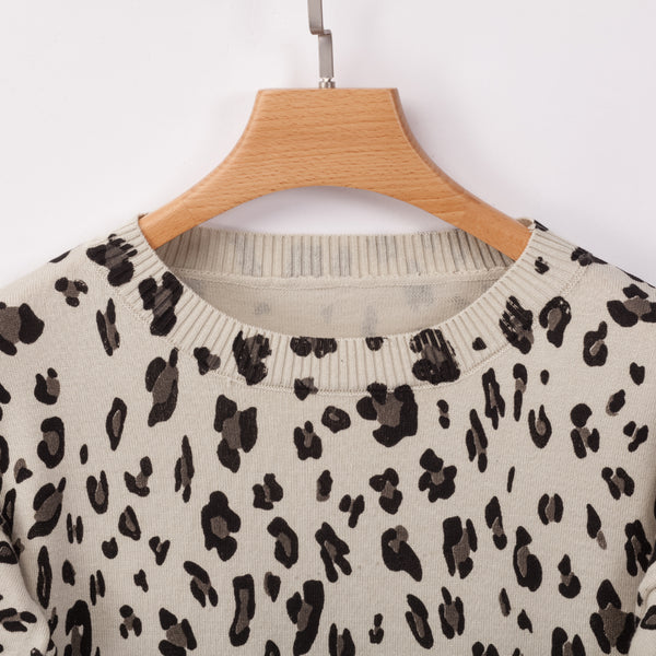 Cream Animal Print Highl-Low Sweater