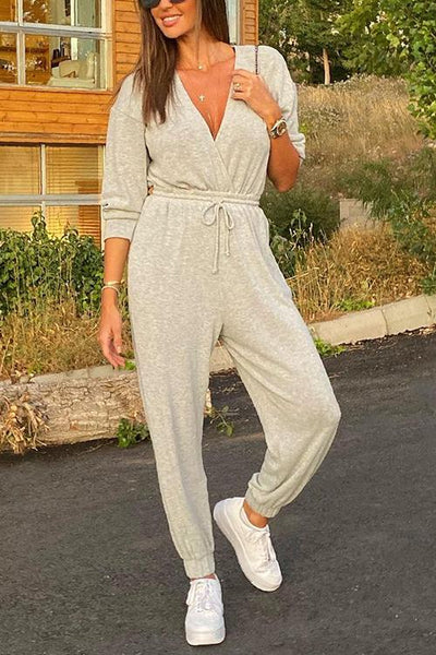 V Neck Pockets Drawtring Jumpsuit