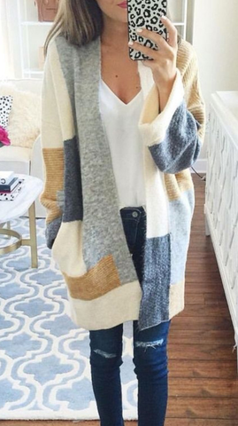 Fashion Multicolor Long Sleeve Cardigan