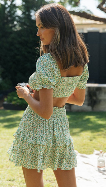Green Floral Top and Skirt Matching Sets