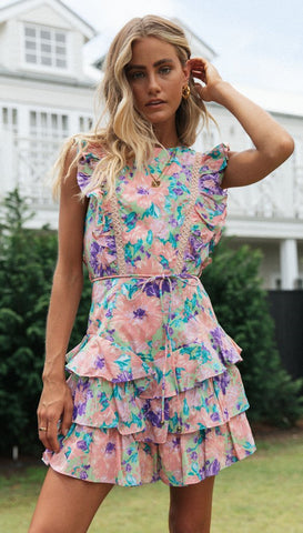 Teal Rose Floral Frill Backless Dress