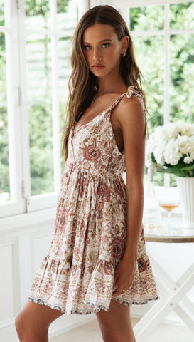 Sauve Floral Surplice Shoulder-Tie Dress