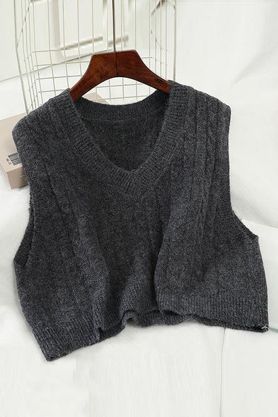 V Neck Sleeveless Knit Tank Top
