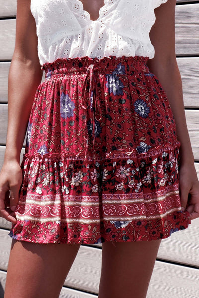 Red Boho Floral Withdraw Mini Skirt