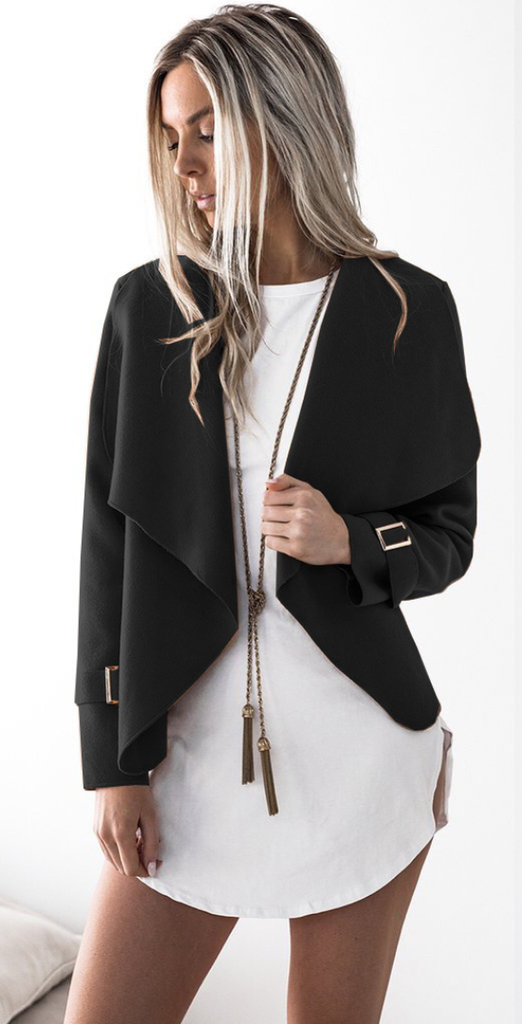 Black Waterfall Woolen Jacket