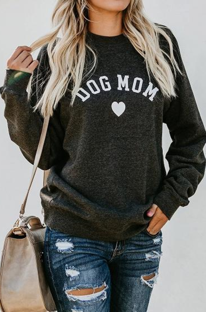 Dark Gray Letter Print Long Sleeve Chic Women Sweatshirt