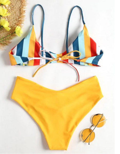 Yellow Rainbow Stripe Bikini Set