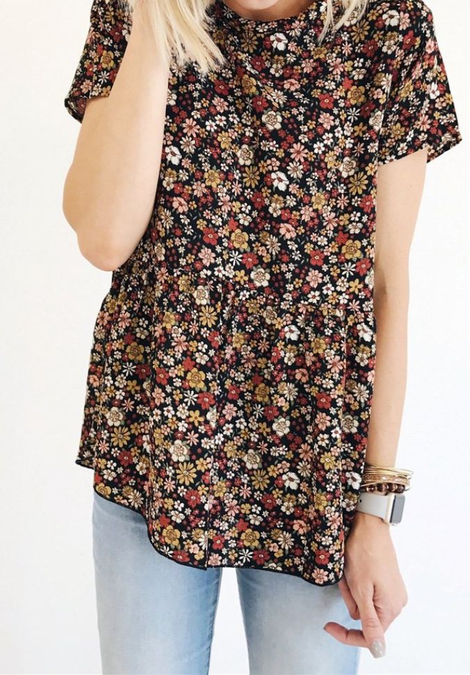 Black Floral Short Sleeve Tee