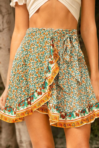 Secret Garden Floral Tulip Mini Skirt