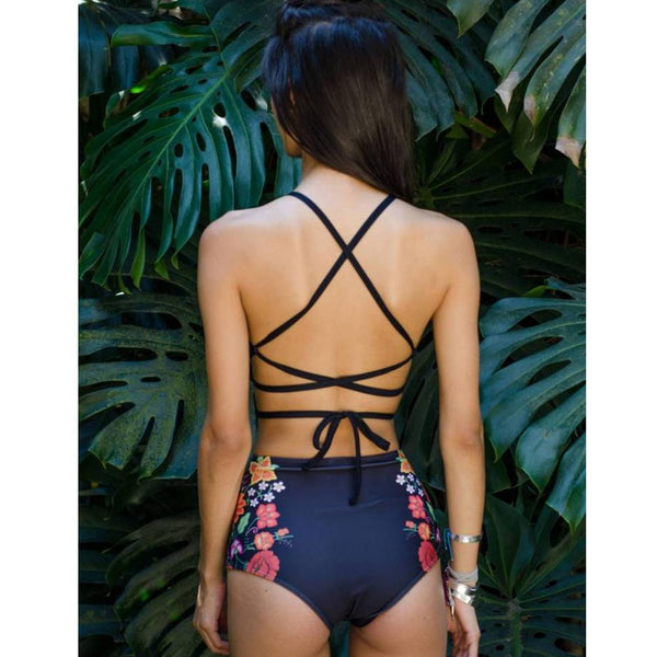 Harmony High Waisted Printed Tank Bikini Set
