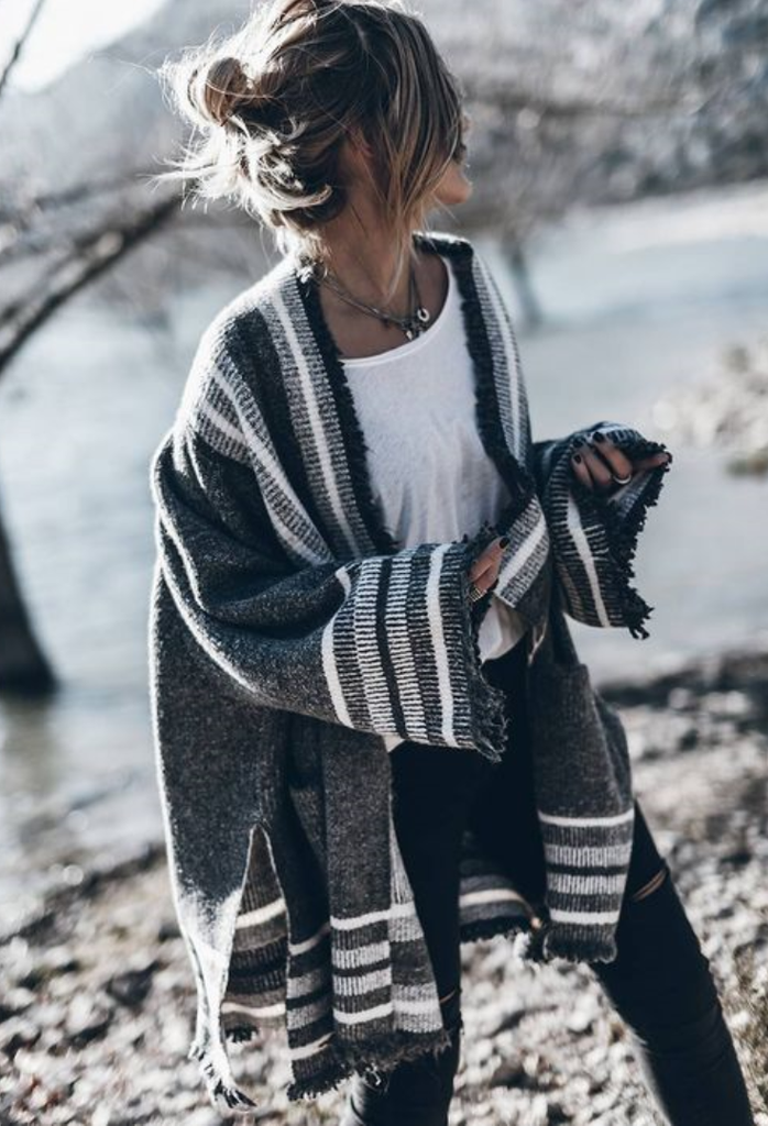 Bold Stripes Tassel Slit Cardigan