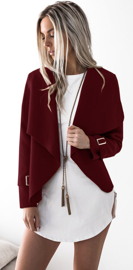 Burgundy Waterfall Woolen Jacket