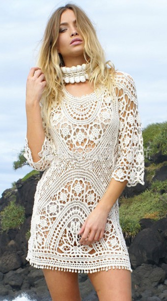 Keep Secrets Sexy Handmade Openwork Solid Color Dress
