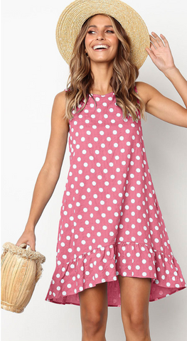 Pink Polka Dot Sleeveless Midi Dress