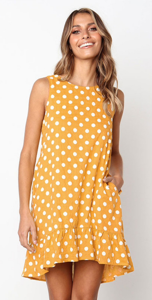 Yellow Polka Dot Sleeveless Midi Dress
