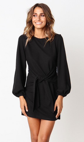 Black Waist Tie Long Sleeve Dress