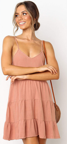 Pink Pleated Linen Slip Dress