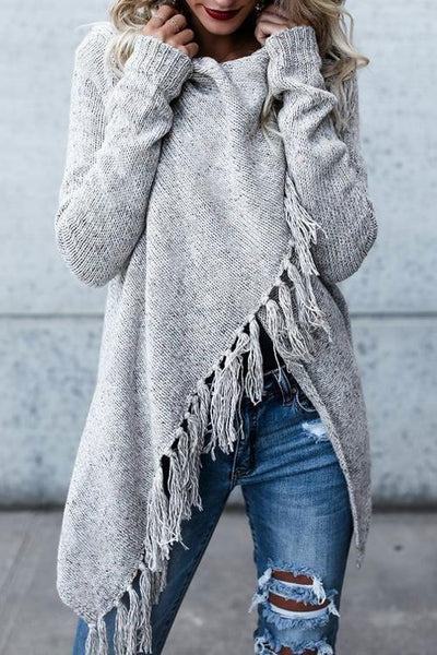 Speckled Fringe Soft Tassel Cardigan