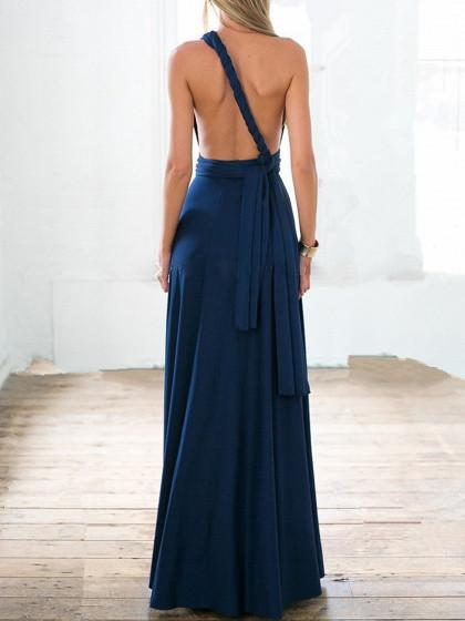 Navy Blue Versatile Straps Maxi Party Dress