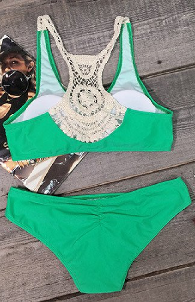 Green Crochet Lace Bikini Sets