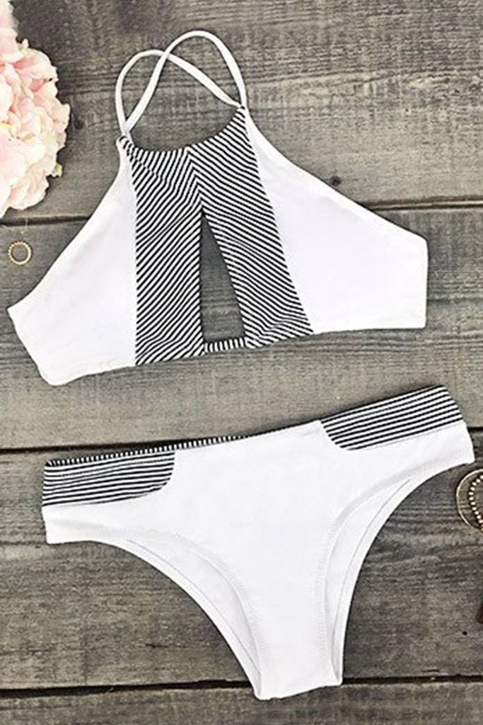 White Made the Cut Stripe Splicing Bikini Set