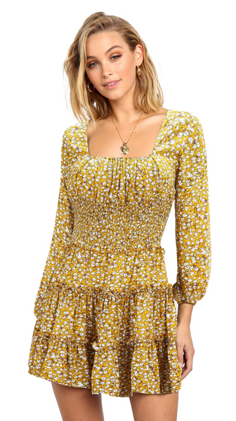 Yellow Floral Long Sleeves Dress