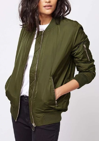 Olive Green Pleated Bomber Jacket