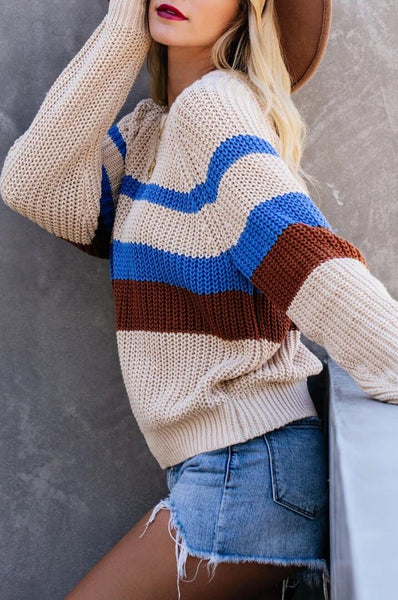 Blue Brown Stripe Knit Sweater