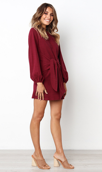 Burgundy Waist Tie Long Sleeve Dress