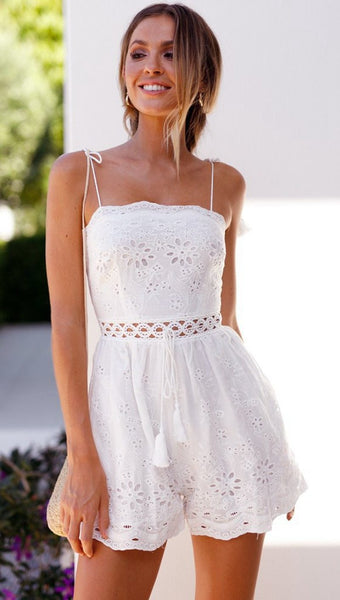 Casual White Lace Camis Sexy Shorts Boho Jumpsuit