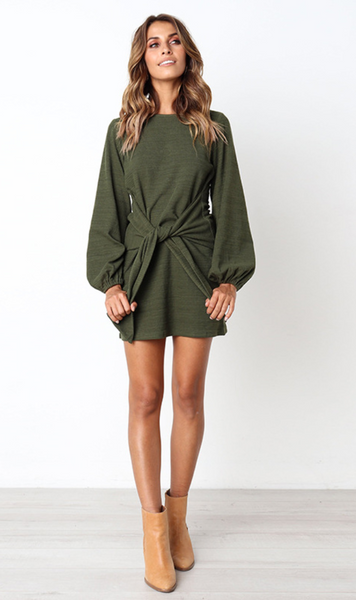 Olive Green Waist Tie Long Sleeve Dress