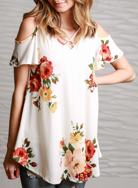 White Floral Cutout Short Sleeve Tee
