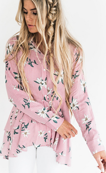Pink Striped Floral Shirt Dress