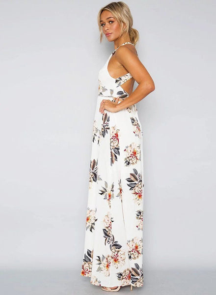 White Floral Halter Maxi Slit Dress