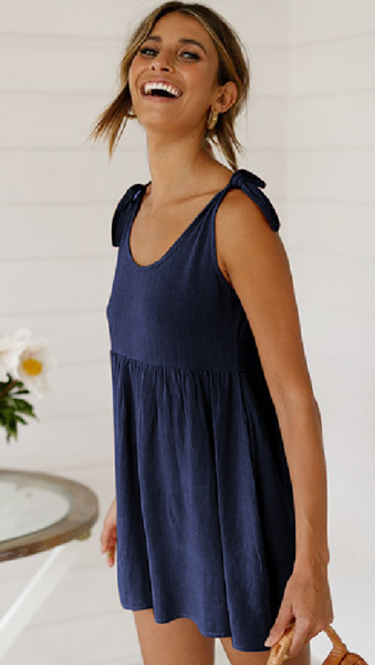 Navy Blue Shoulder-Tie Shift Dress