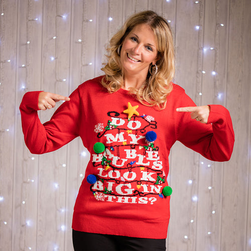 "Adults 3D ""Do my Baubles Look Big in This?"" Light Up Christmas Jumper"